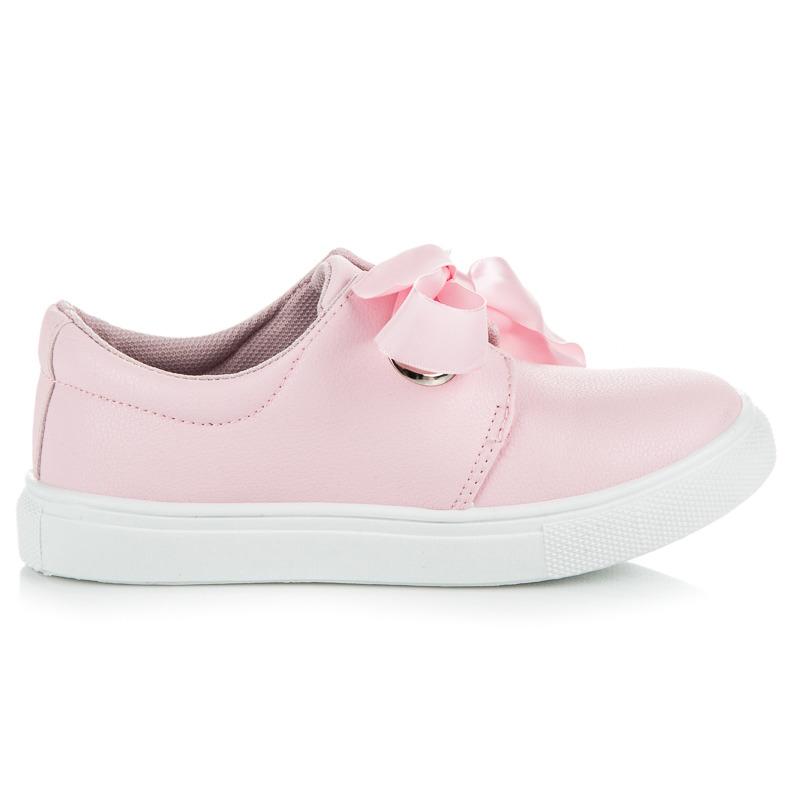 a5cdee83a8b7 Luxusné detské ružové tenisky viazané stužkou