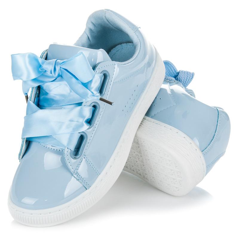 e4a96801a Luxusné lakované modré tenisky na šnurovanie | AMIATEX.sk