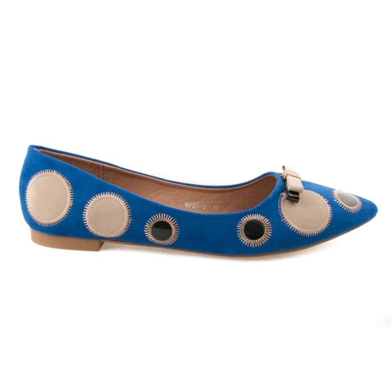 Luxusné modré baleríny s bodkami