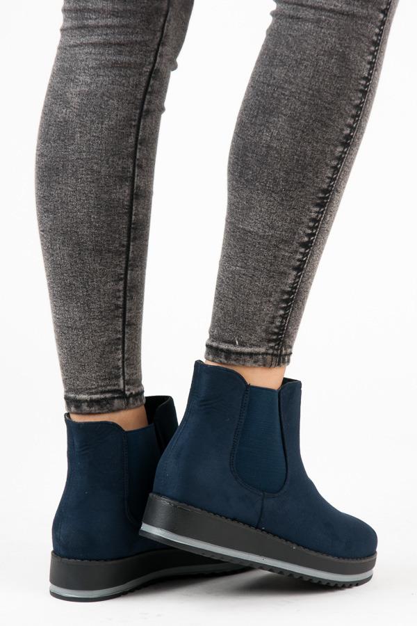 315e93d0a524 Luxusné modré členkové topánky na platforme