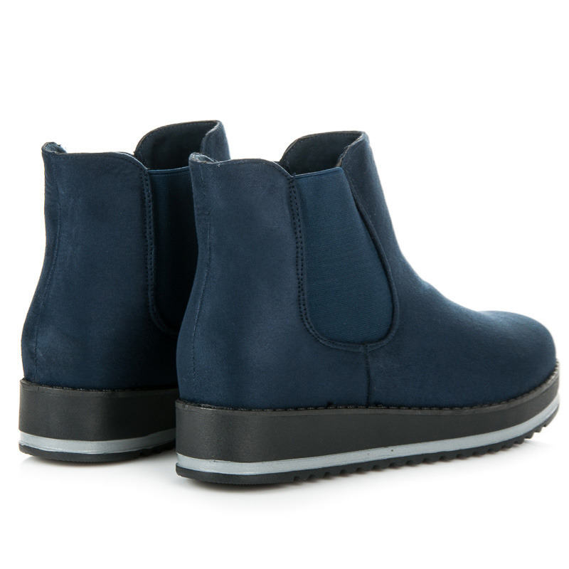 f9634af5583f ... Luxusné modré členkové topánky na platforme