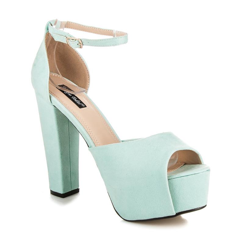 c561b89e920f Luxusné modré semišové sandále na platforme