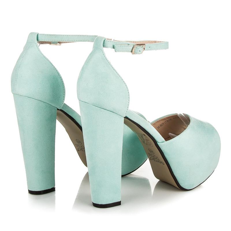 c3b05c5fc888 ... Luxusné modré semišové sandále na platforme