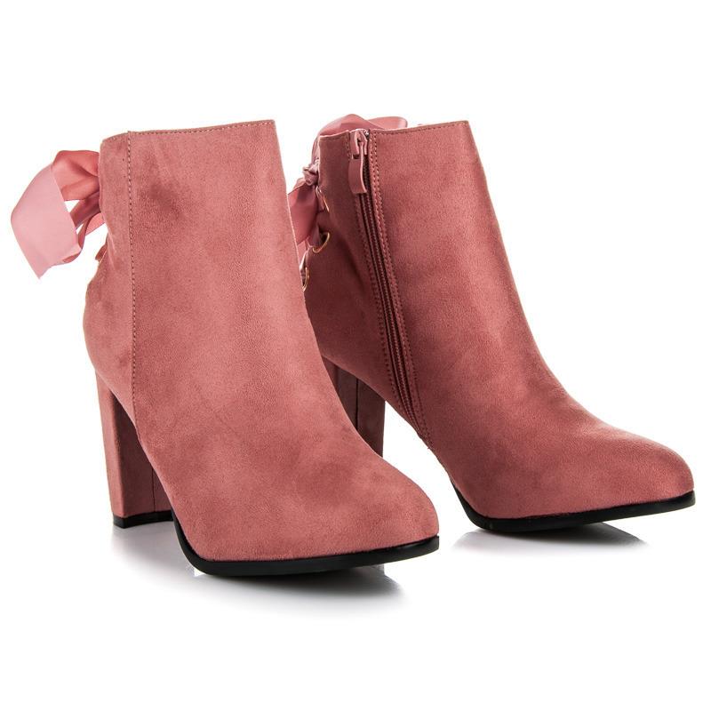 9dcc20cf8 Luxusné ružové semišové členkové topánky s mašľou   AMIATEX.sk