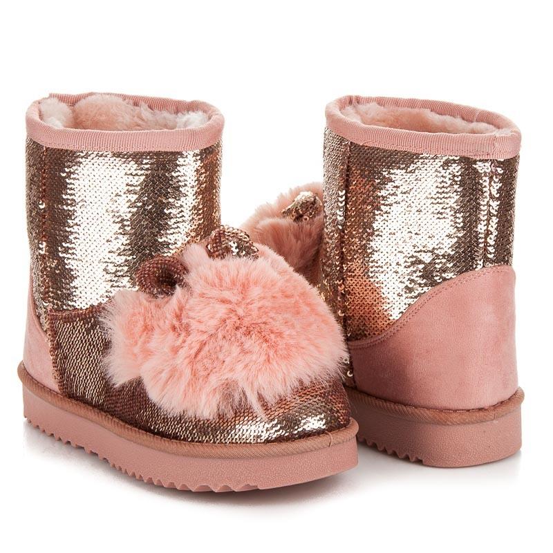 edef4a709a531 Luxusné ružové snehule s filtrami a kožúškom na špičke | AMIATEX.sk