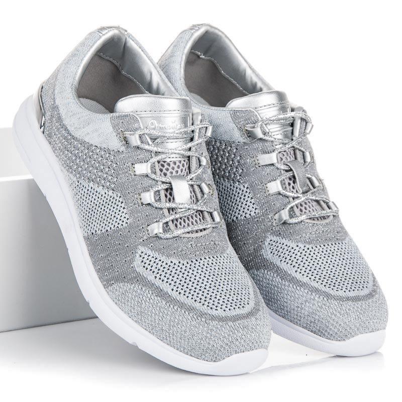 Luxusné šedé tenisky s lesklými detailmi 0350bddbd35