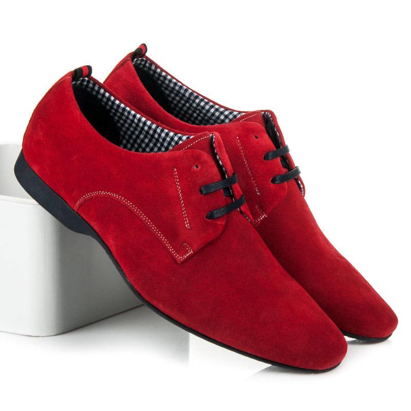 be0db4a04ff2 Luxusné semišové pánske poltopánky v červenej farbe