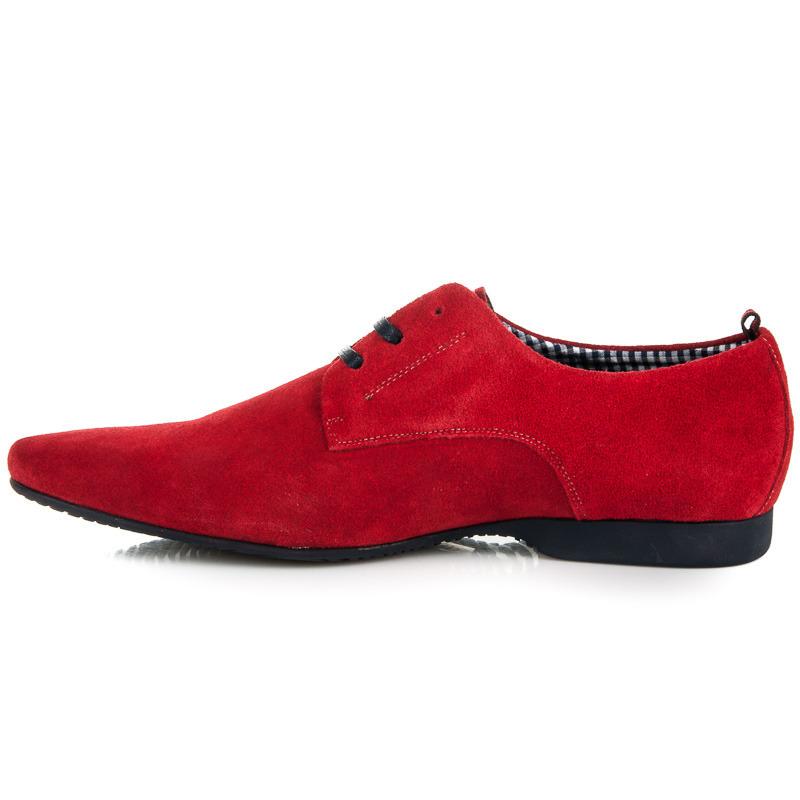 33c0622ddfde ... Luxusné semišové pánske poltopánky v červenej farbe