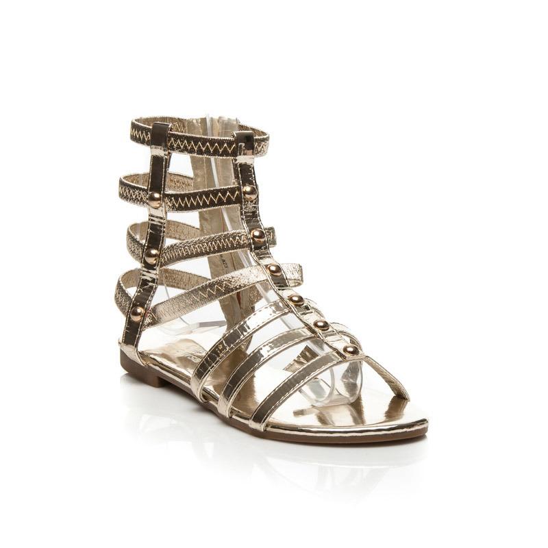 77ad5781b4ac Luxusné zlaté sandálky z tenkých efektných pásikov zdobené cvočkami ...