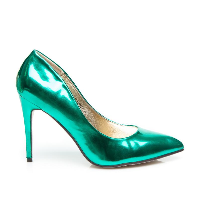 b02529395f Metalické dámske lodičky - zelené