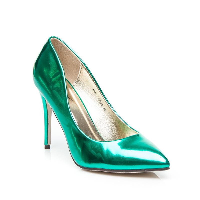 f4565d36121a Metalické dámske lodičky - zelené