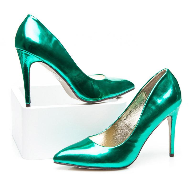 7ddc31eb93b3 ... Metalické dámske lodičky - zelené