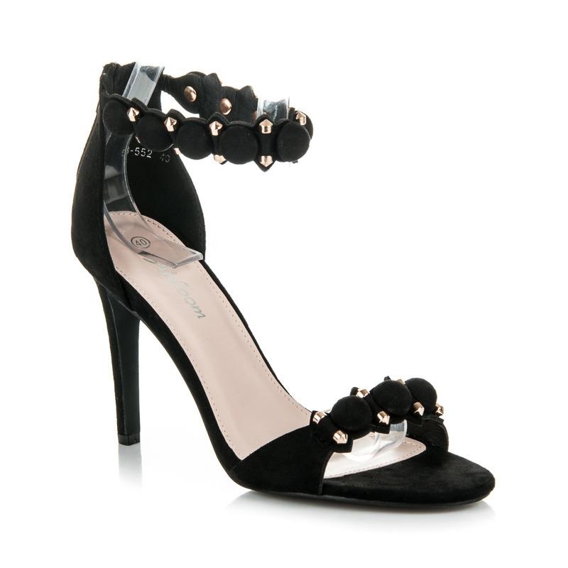 5dc0ab7249c2 Moderné čierne sandále na ihličkovom podpätku