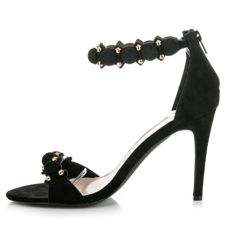 e665d045209f ... Moderné čierne sandále na ihličkovom podpätku ...