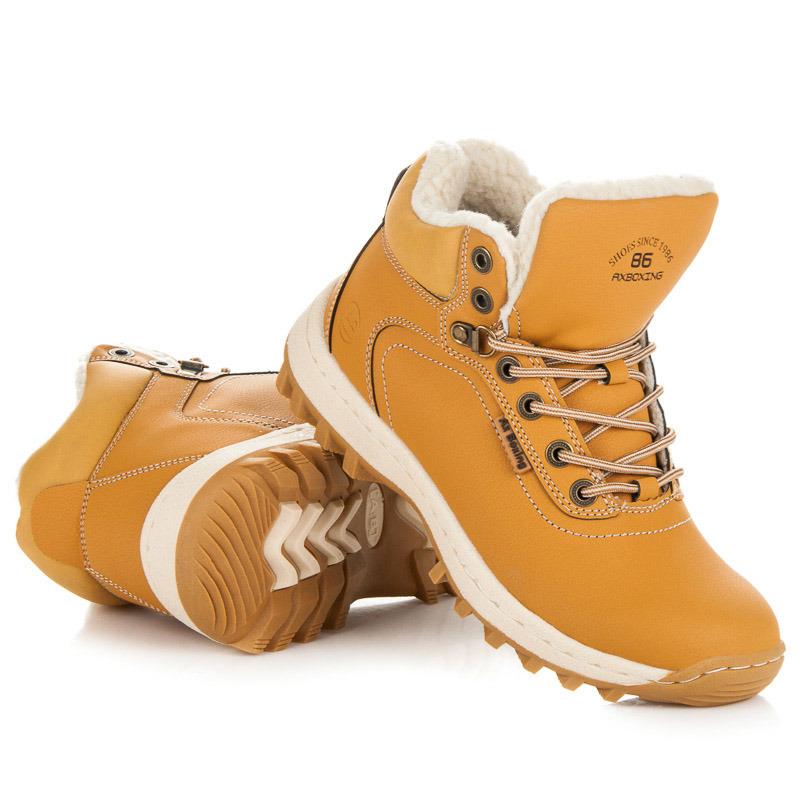 5dbe838c903a Moderné hnedé trekové topánky zateplené kožúškom