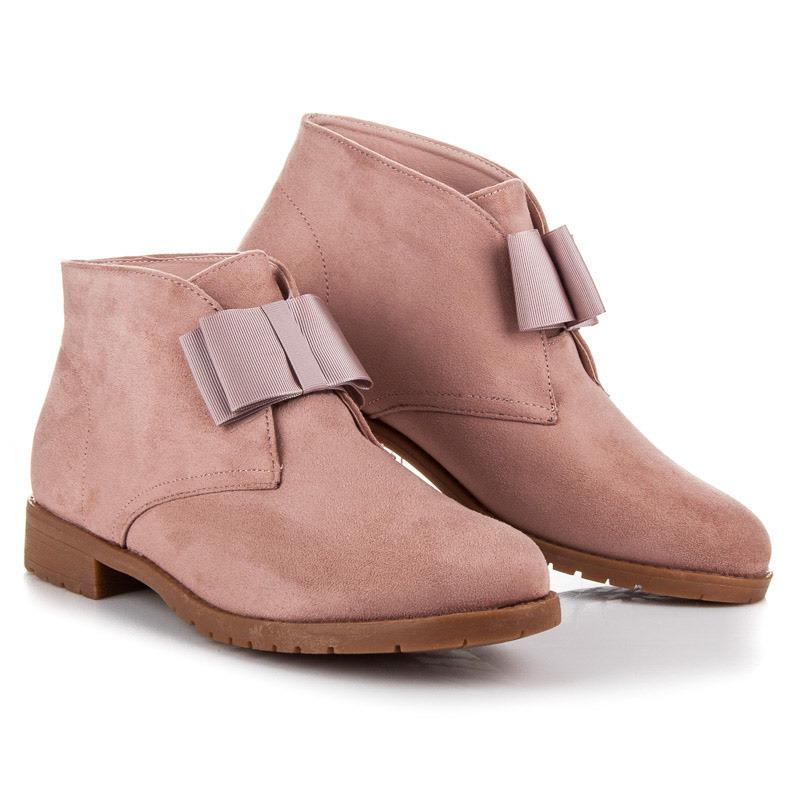 Moderné ružové členkové topánky s mašľou  9a70660227c