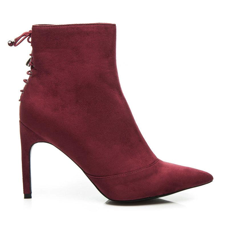 7669d8736cd35 Módne červené členkové topánky na ihličkovom podpätku, s viazaním ...