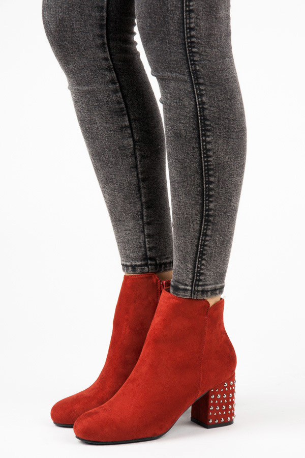 1997daf5b Módne červené členkové topánky s kamienkami na podpätku | AMIATEX.sk