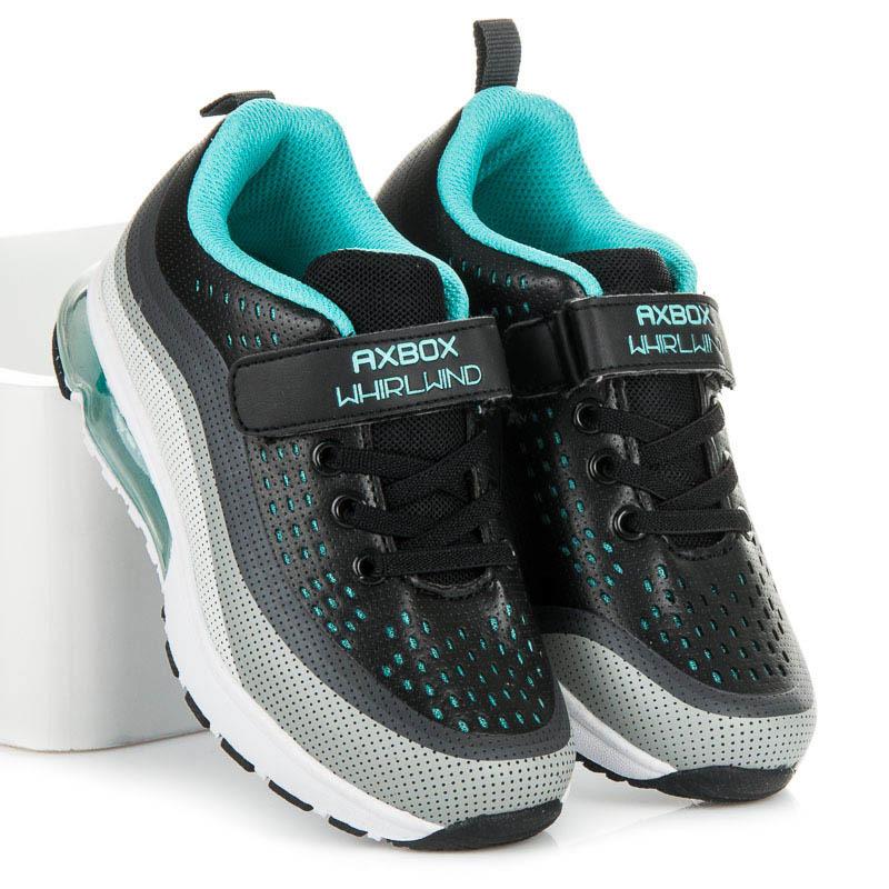 Módne čierne detské športové topánky na šnurovanie  1e31f1a15c8