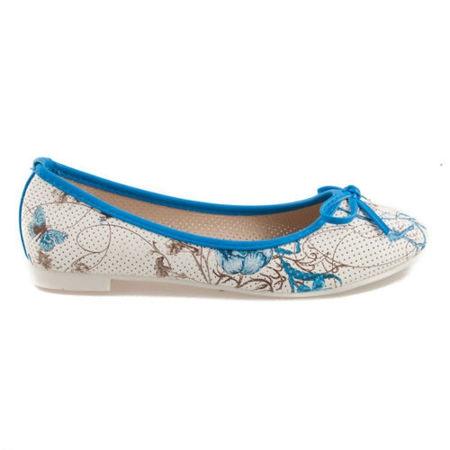 Modré balerínky s kvetmi