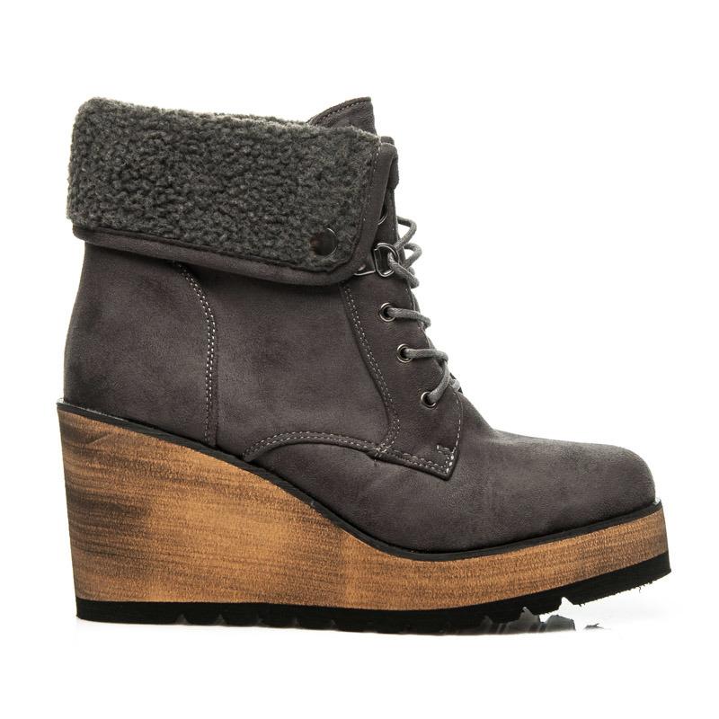 54148a574dcd Netradičné šedé členkové topánky s kožušinkou