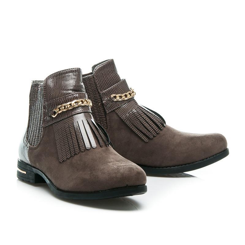 2d14bc21ddf5 Nevšedné šedé dámske členkové topánky