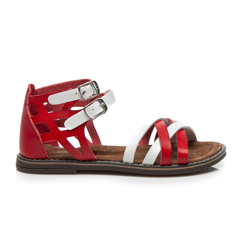 e3551dfb46dbe Nízke bielo-červené páskové dámske sandále | AMIATEX.sk