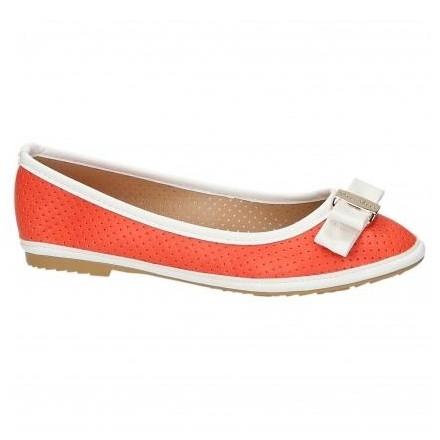 Oranžové baleríny s bielym lemovaním