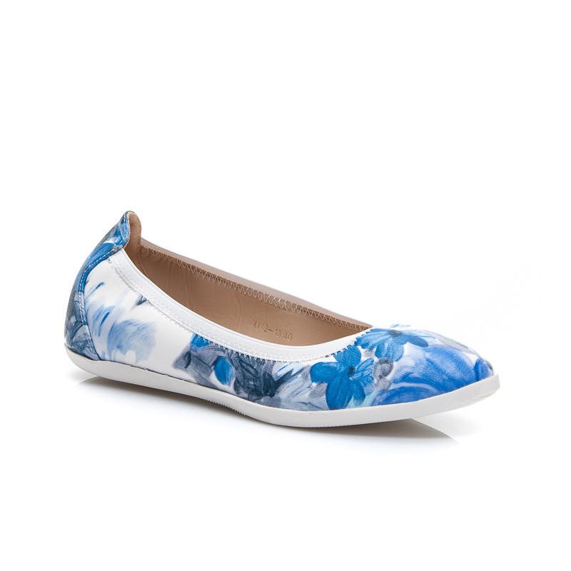 Originálne modré dámske baleríny s kvetmi