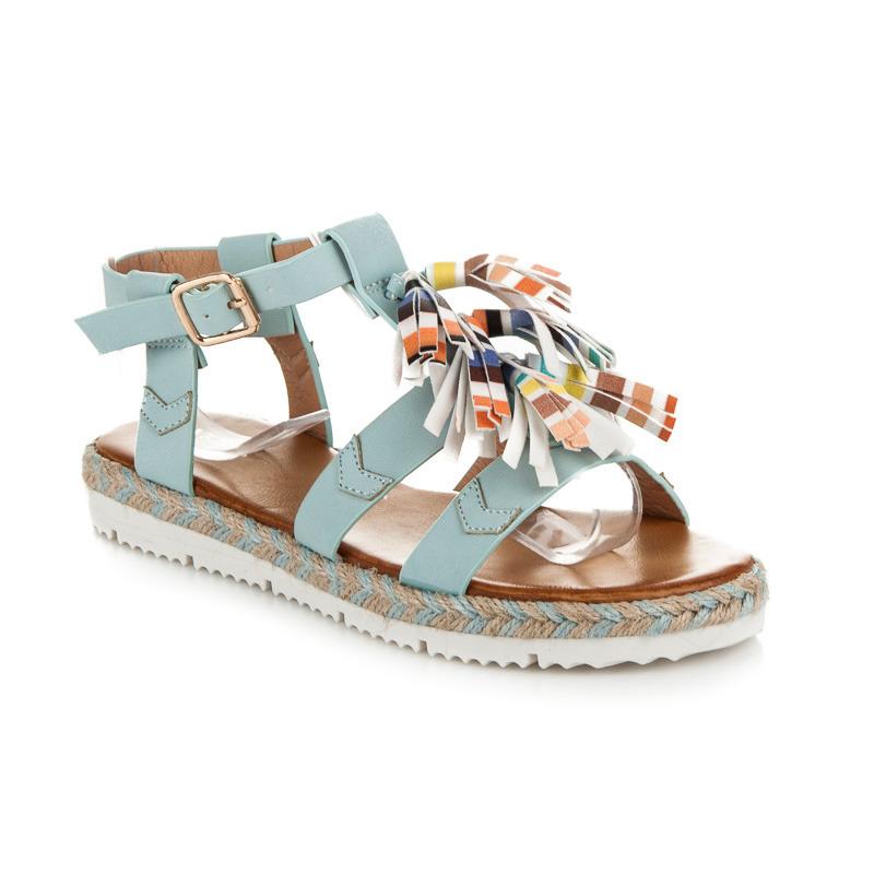 9b98bc0ad695 Originálne modré sandále v boho štýle