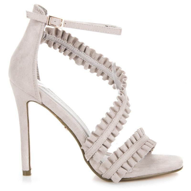 Originálne riešené šedé sandále na ihličkovom podpätku  f9c4eb1ce13