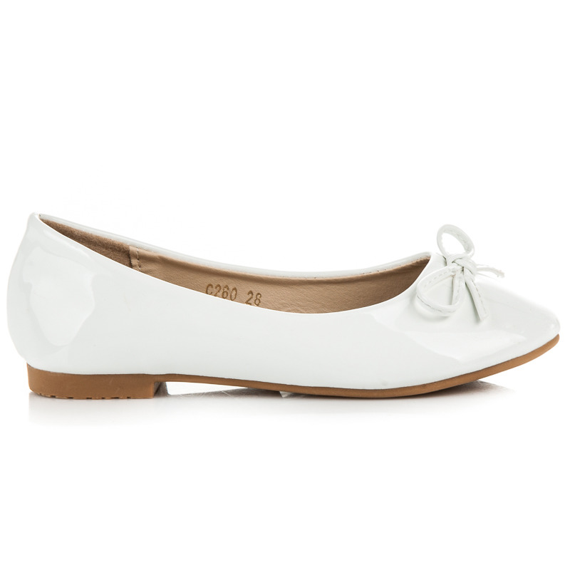 3482a310e575 Pôvabné biele detské baleríny s mašličkou
