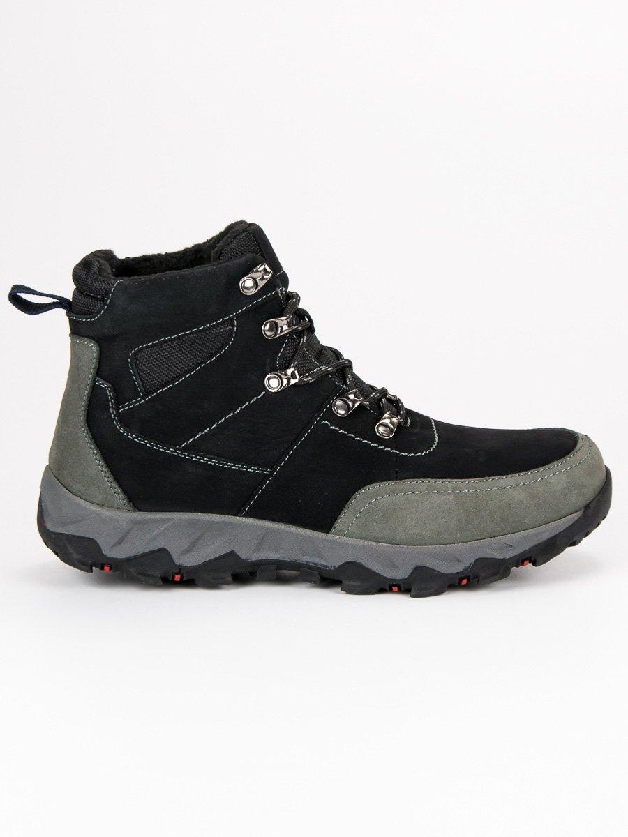 Pánske čierne kožené trekové topánky  8f950c20a49
