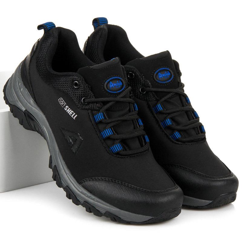ebe04895bfb35 Pánske čierno-modré trekové topánky s membránou Softshell | AMIATEX.sk