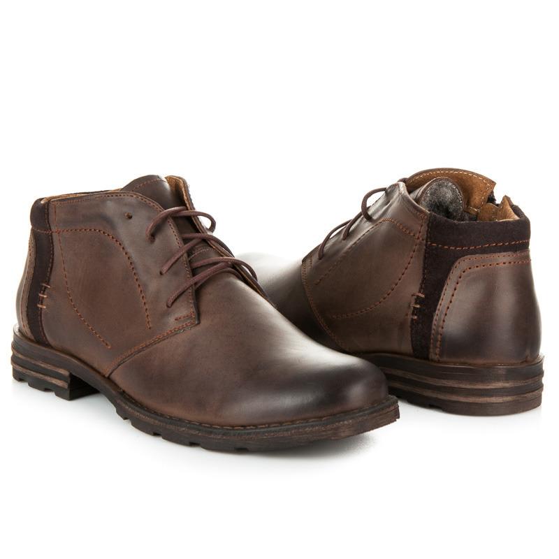 f261f5fa657e Pánske hnedé kožené zateplené členkové topánky