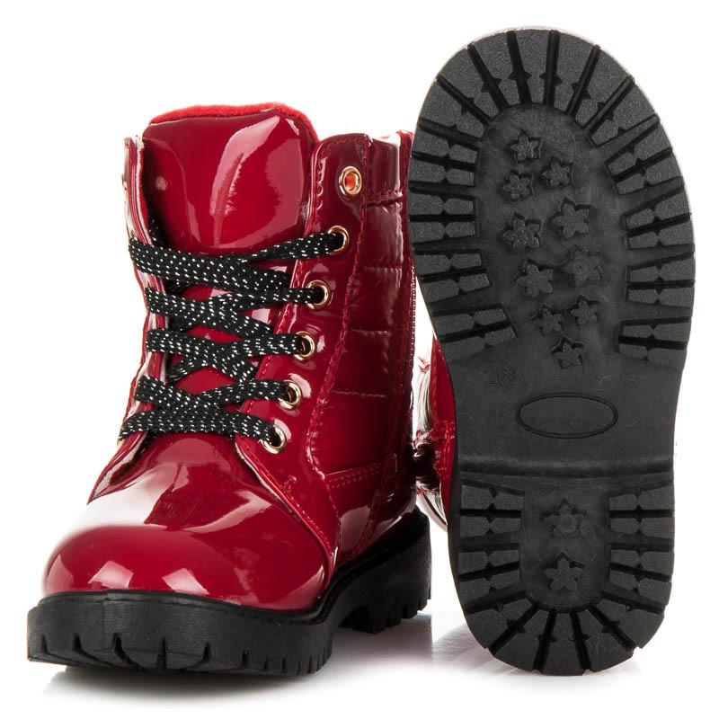 Parádne červené detské čižmy zateplené kožušinkou  324d10a46e5
