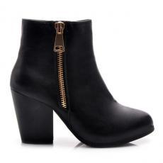 53b98dc88d Parádne čierne členkové dámske topánky s módnym zipsom