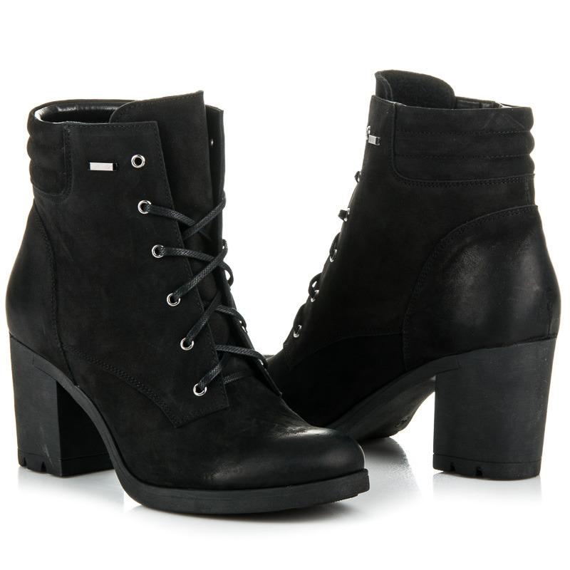 711e53bb8f81 ... Parádne čierne kožené členkové topánky na šnurovanie