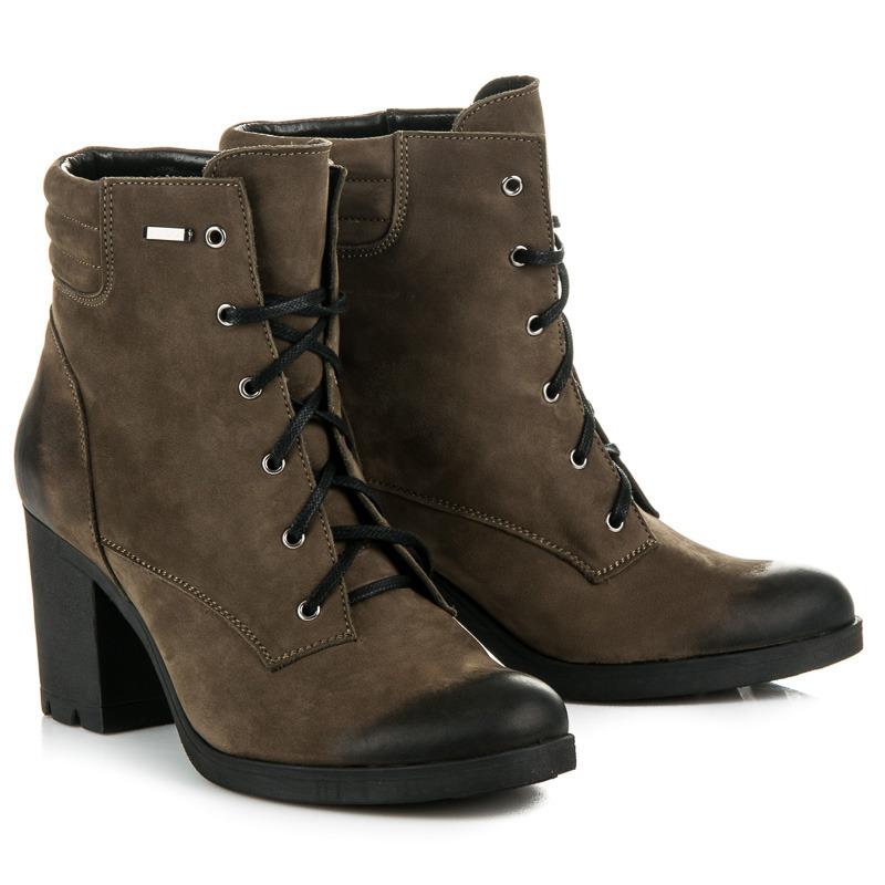 07ba46da510e ... Parádne olivové kožené členkové topánky na šnurovanie
