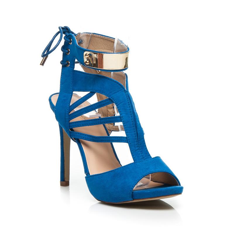 d1e6c5d265ea Parádny rezané modré sandále na podpätku