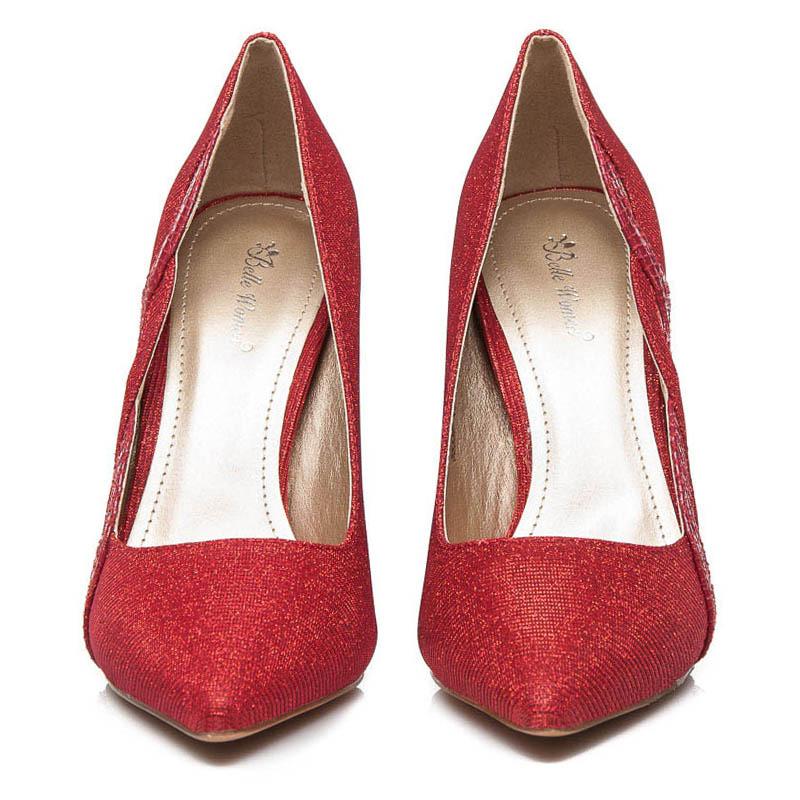... Pekné dámske lodičky - červené trblietavé 89b57e1c54