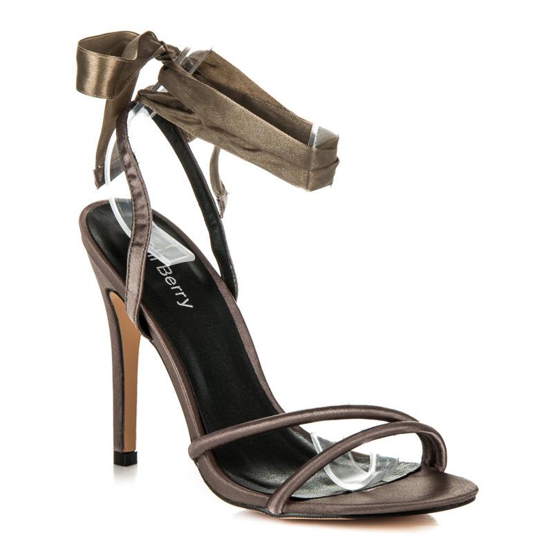 0dfd56268b3d Pekné olivové sandále viazané stužkou