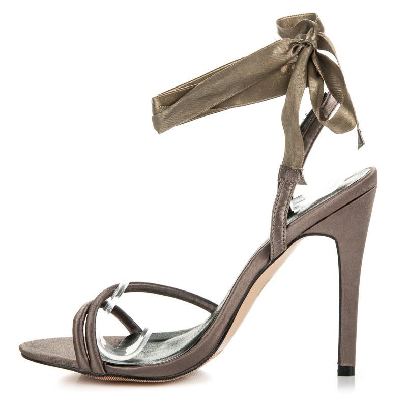 9ea53287f5ed ... Pekné olivové sandále viazané stužkou ...