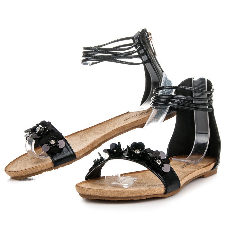 ec5b2166a024 Ploché čierne sandále na zips zdobené kamienkami