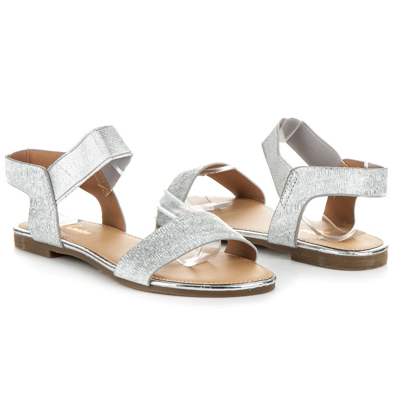 a50d9c7da9 Ploché strieborné sandále s gumičkou