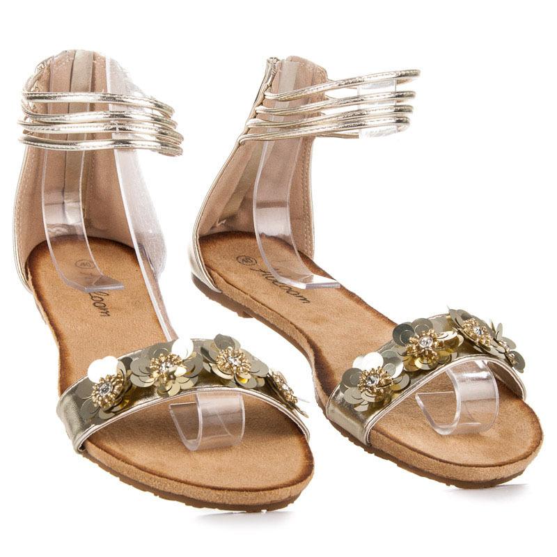 8fbd68f83c51 Ploché zlaté sandále na zips zdobené kamienkami