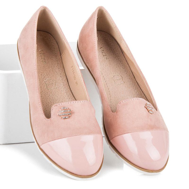 e713cf0d864e Pohodlné a luxusné ružové balerínky s lakovanou špičkou