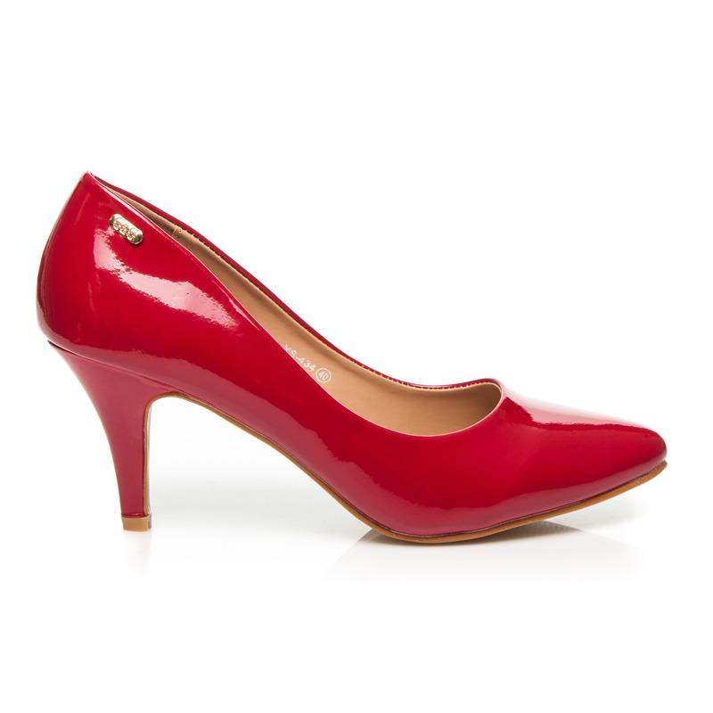 Pohodlné červené lakované lodičky na nízkom ihlovom podpätku ... 040ebe1883