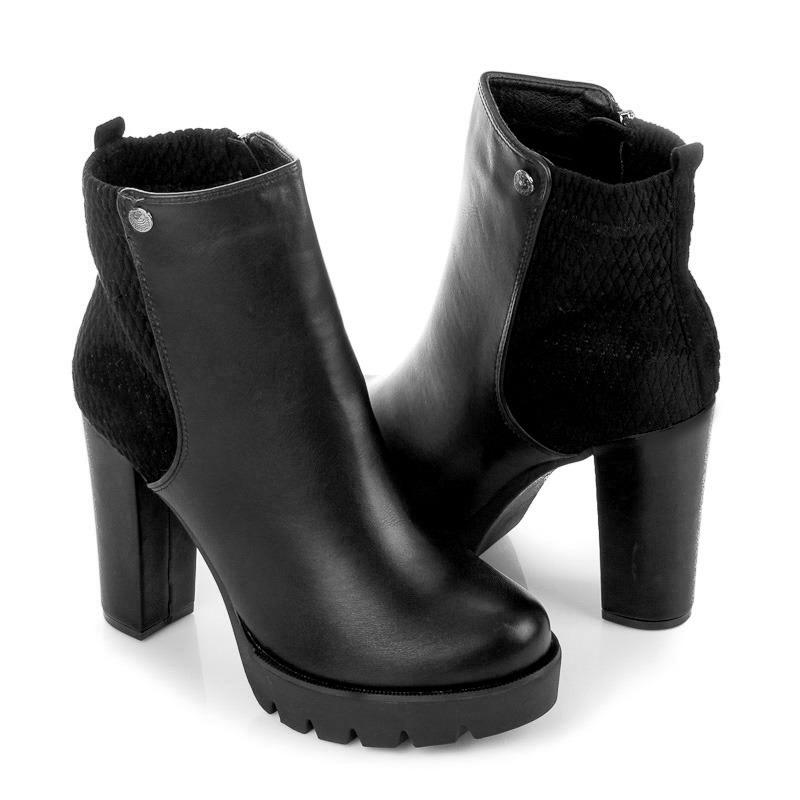 a5ef25c23db6 ... Pohodlné čierne členkové topánky na stĺpcovom podpätku ...