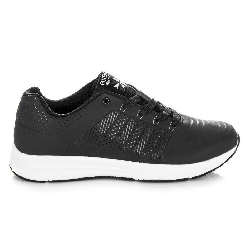 2b3765f607db Pohodlné čierne pánske športové tenisky na bielej podrážke